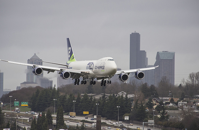 Boeing 747-8F in Seahawks Livery