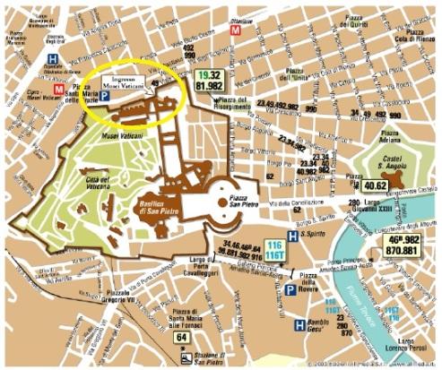 Mapa Vaticasno